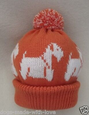 SEALYHAM TERRIER dog NEW ORANGE Knitted beanie pompom bobble ADULT size HAT