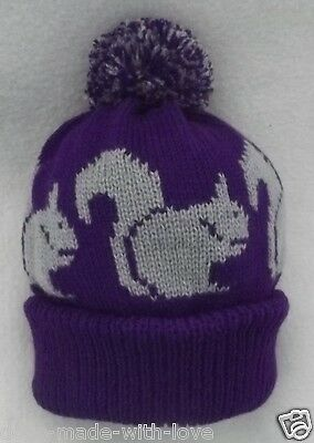 SQUIRREL NEW Knitted PURPLE Adult size beanie pompom bobble HAT