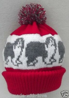 OLD ENGLISH SHEEPDOG dog NEW Knitted RED beanie pompom bobble Adult size HAT