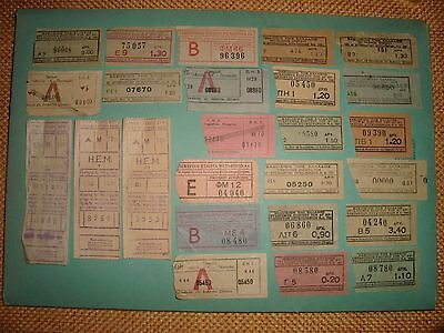 Greece rare 1950s collection lot of 25 transportation tickets bus train tram