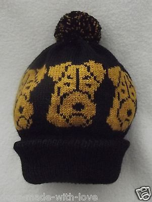 AIREDALE TERRIER dog NEW Knitted BLACK beanie pompom bobble HAT Adult size