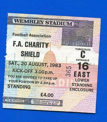 Liverpool FC v Manchester United Charity Shield 1983 MATCH TICKET POSTFREE to UK