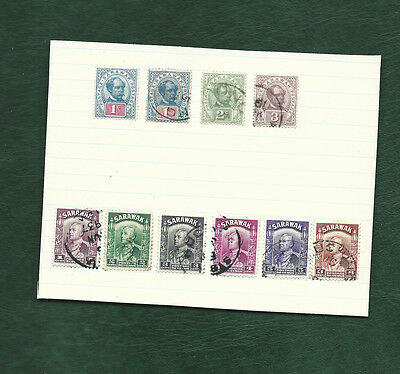 Sarawak 1 MH and 9 used old stamps on page