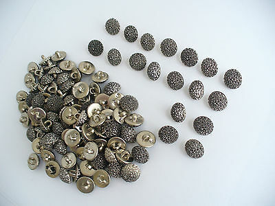 Vintage Small Domed Ornate Metal Buttons, Lot Of 105