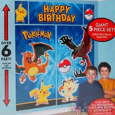 POKEMON Pikachu & Friends WALL POSTER DECORATION KIT ~ Birthday Party Supplies