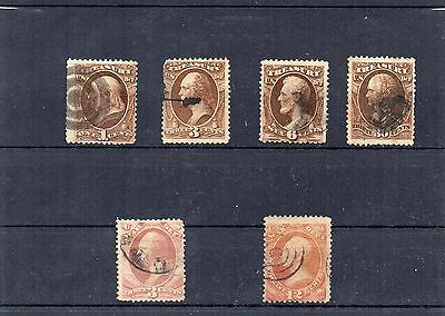 USA - used early Officials stamps x 6