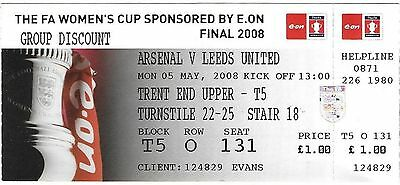 2008 FA WOMEN'S CUP FINAL TICKET ARSENAL v LEEDS UNITED @ Nottingham Forest