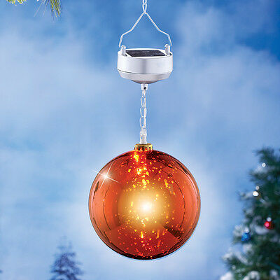 Solar Powered Lighted Hanging Red Gazing Globe Outdoor Porch Yard Decoration