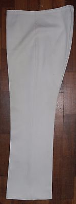 "Vintage 1960s Ladies White Rib Stretch Jersey Trousers. W 36"". Can Be Adjusted"