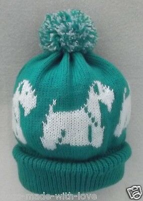 SEALYHAM TERRIER dog NEW JADE GREEN Knitted beanie pompom bobble ADULT size HAT