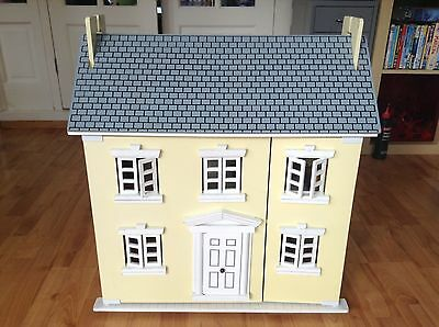 Primrose yellow Wooden Dolls House including furniture