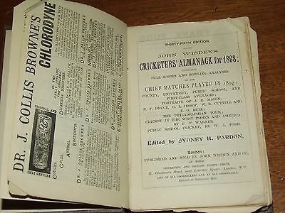 Wisden Cricketers' Almanack 1898 rebound paperbacked edition FAIR only condition