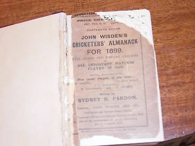 Wisden Cricketers' Almanack 1899 rebound paperbacked edition FAIR only condition