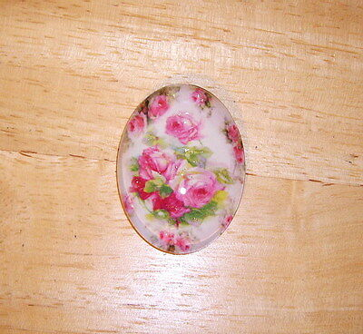 Pink Roses Floral Glitter Unset Handmade Art Bubble Cameo Cabochon 30X40mm