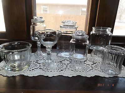 Set/7 Apothecary Jars/Open Glass Containers-Candy Buffet, Wedding/Holiday/Party
