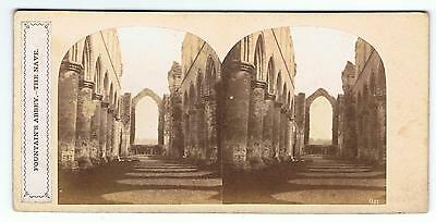 Stereoview - Fountains Abbey The Nave Yorkshire  , Poulton Label