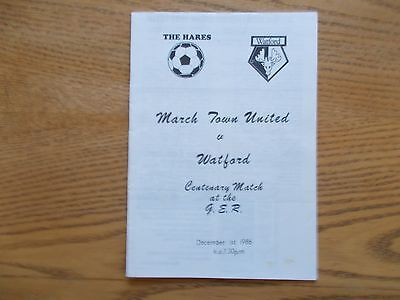 MARCH TOWN UNITED v WATFORD  CENTENARY MATCH DEC 1st 1986
