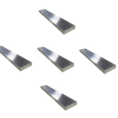 "5 pcs-1/4"" x 1-1/2"" Aluminum Flat Bar, 6061 Plate, 12"" Length, Mill Stock, 0.25"""