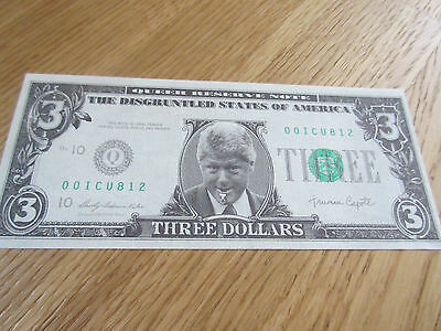 Banknote UNITED STATES USA - Bill Clinton 3 Dollar Banknote (Fun note)