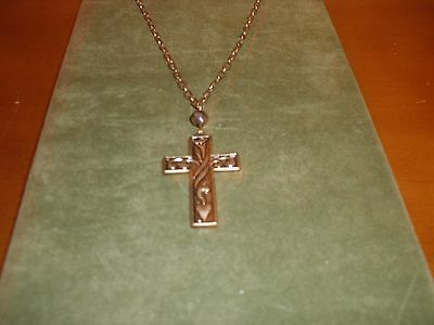 """Jim Shore Gold Cross Necklace With 12"""" Chain-New"""