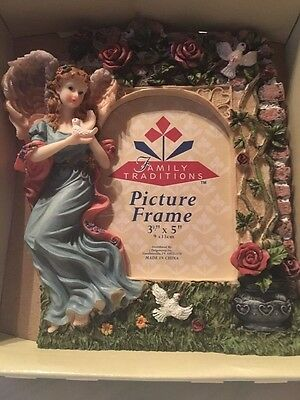 Frame Picture Angel With Doves Ceramic /poly/ New Picture 3 X 5 Picture Frame