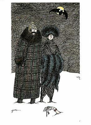Message from Under the Snow The Dead of Winter by Edward Gorey - Large Postcard