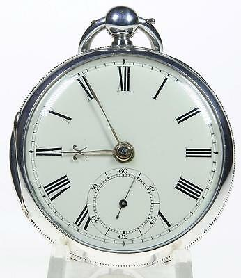 Solid sterling silver English fusee lever pocket watch 1879 cleaned & working