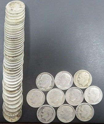 50 Roosevelt dimes $5 Face 1964 & Before 90% Silver Circulated P&D Mix #854
