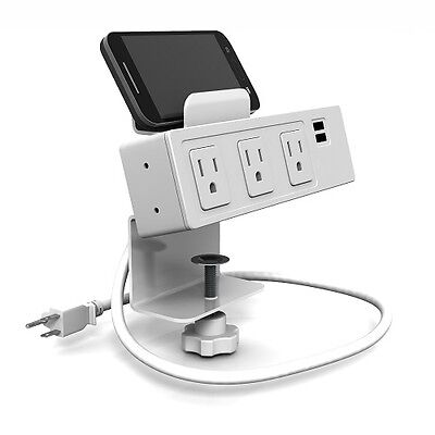 Symmetry Office Desktop Outlet Convenience Power Module/Charger 3 Outlets 2 USB