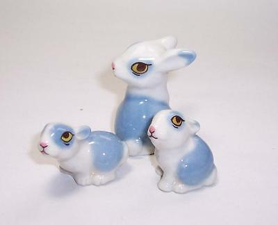 Vintage 1978 WADE Happy Family RABBITS Mother & Two Babies - Whimsies Ornaments