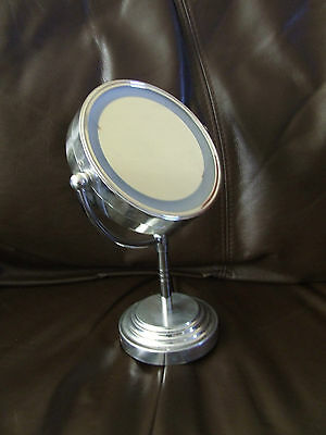 5 Inch Led Cosmetic Mirror With Light Table Stand 1/3X Magnify Make-Up Mirror UK