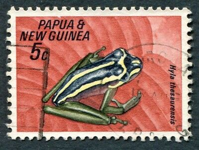 PAPUA NEW GUINEA 1968 5c SG129 used NG Fauna Conservation Frogs #W9