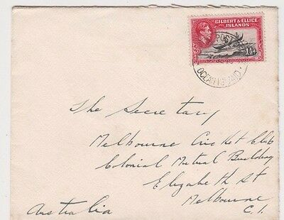 Stamp Gilbert & Ellice Islands 1&1/2d KGV1 on cover 1940 Melbourne Cricket Club