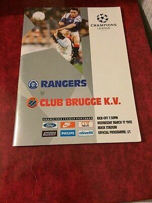 Rangers V Club Brugge 17th March 1993 Champions League Group A