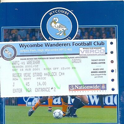 WYCOMBE WANDERERS v WREXHAM Division two 18 August 2001 +match ticket