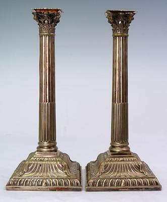 """Antique 19th Century HE & Co Greek Column Silver Plated 12 1/2"""" Candlesticks"""