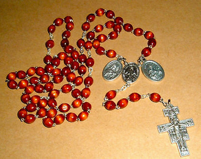 FRANCISCAN CROWN Rosary 27 in NIB Catholic St Francis