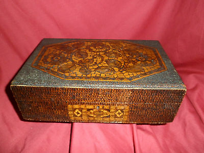 ANTIQUE WOODEN SEWING BOX WITH POKER WORK DETAIL - wood/woodenware