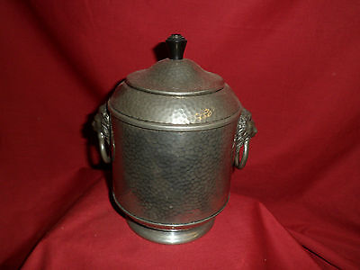 Antique Pewter Caddie With Lion Detail.