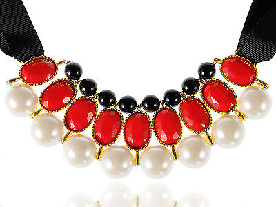 UK Red Chunky Cream Faux Pearl Statement Collar Bib Tie Necklace with Beads