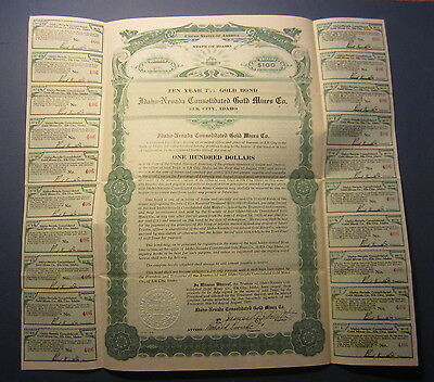 Old 1920 Idaho Nevada Consolidated GOLD MINES GOLD Bond Certificate - IDAHO