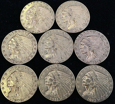 (8) Coin Set U.S. $2.50 Gold Indian Coin Early Date Set Almost Uncirculated