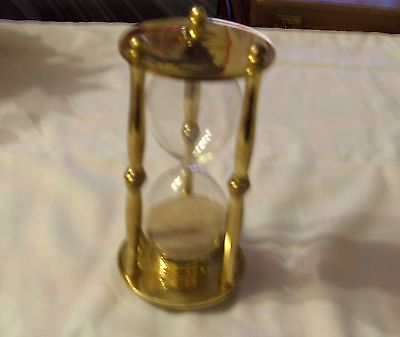 "Brass And Glass 4 Minute Egg Timer Height 6"" Diameter 3"""