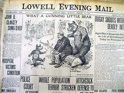 1908 newspaper TEDDY ROOSEVELT portrayed as a TEDDY BEAR in a Political cartoon