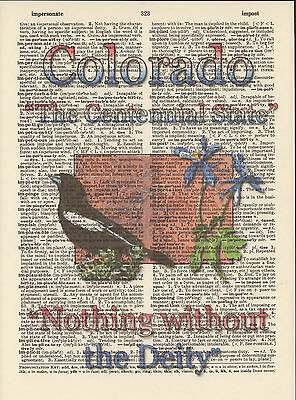 Colorado State Map Symbols Altered Art Print Upcycled Vintage Dictionary Page