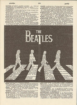Beatles Black & W Abbey Road Altered Art Print Upcycled Vintage Dictionary Page
