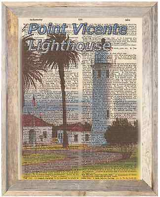Point Vicente Lighthouse Palos Ca Altered Art Print Upcycled Vintage Dictionary