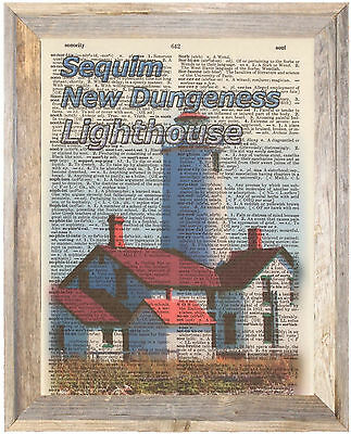 Sequim New Dungeness Lighthouse WA Altered Art Print Upcycled Vintage Dictionary