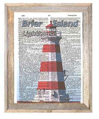 Brier Island Lighthouse NovaScotia Altered Art Print Upcycled Vintage Dictionary