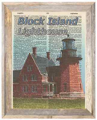 Block Island Lighthouse Newport Altered Art Print Upcycled Vintage Dictionary